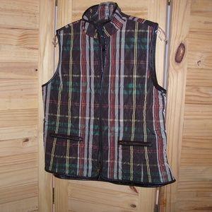 TALBOTS Petites Women Brown Plaid Quilted Vest  M